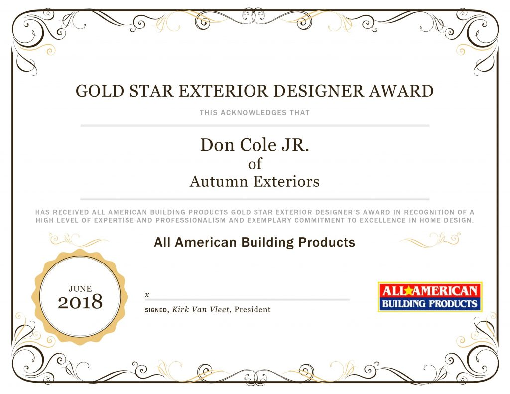 Gold Star award from all american building products