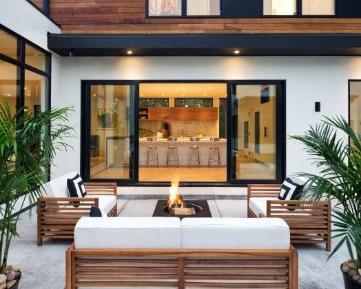 Outdoor image of Glass patio door looking into house